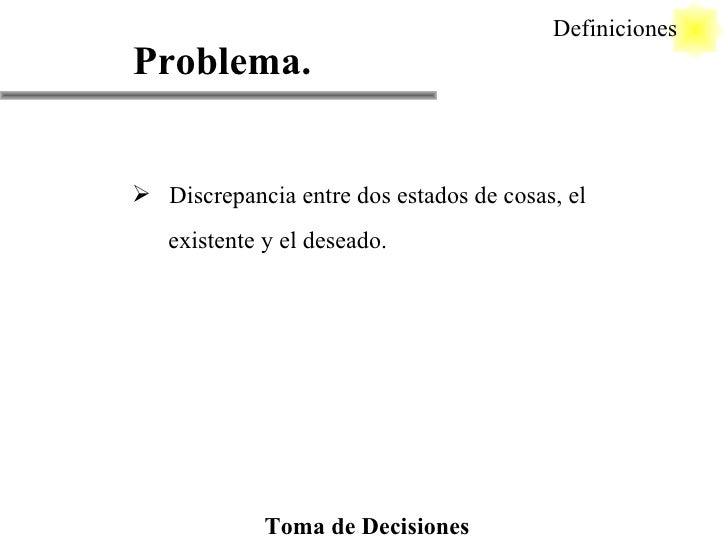 Problema. <ul><li>Discrepancia entre dos estados de cosas, el </li></ul><ul><li>existente y el deseado. </li></ul>Definici...