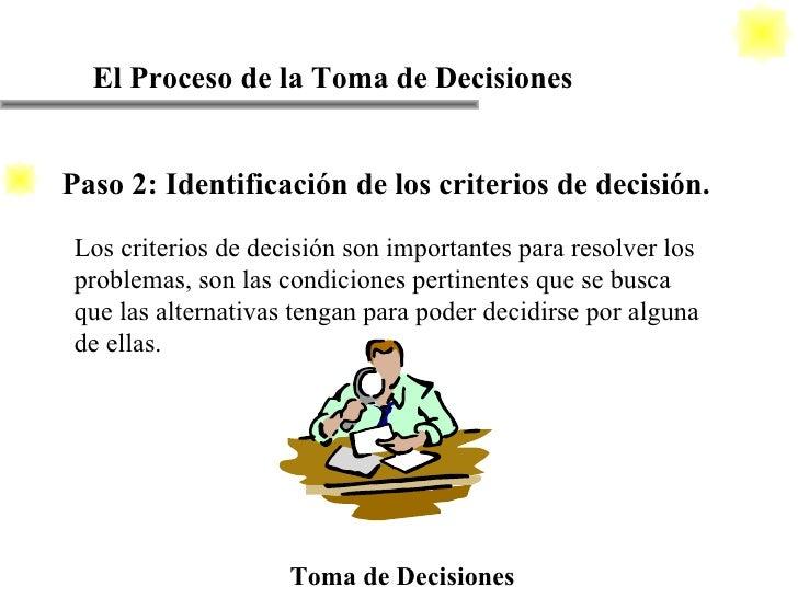 El Proceso de la Toma de Decisiones Toma de Decisiones Los criterios de decisión son importantes para resolver los problem...
