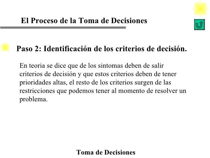 El Proceso de la Toma de Decisiones Toma de Decisiones En teoria se dice que de los sintomas deben de salir criterios de d...