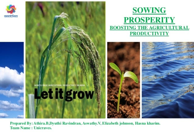 Subtitle SOWING PROSPERITY BOOSTING THE AGRICULTURAL PRODUCTIVITY Prepared By: Athira.B,Dyuthi Ravindran, Aswathy.V, Eliza...