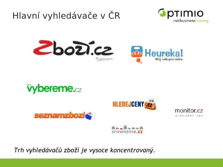 Hlavní vyhledávače v ČR     Trh vyhledávačů zboží je vysoce koncentrovaný.