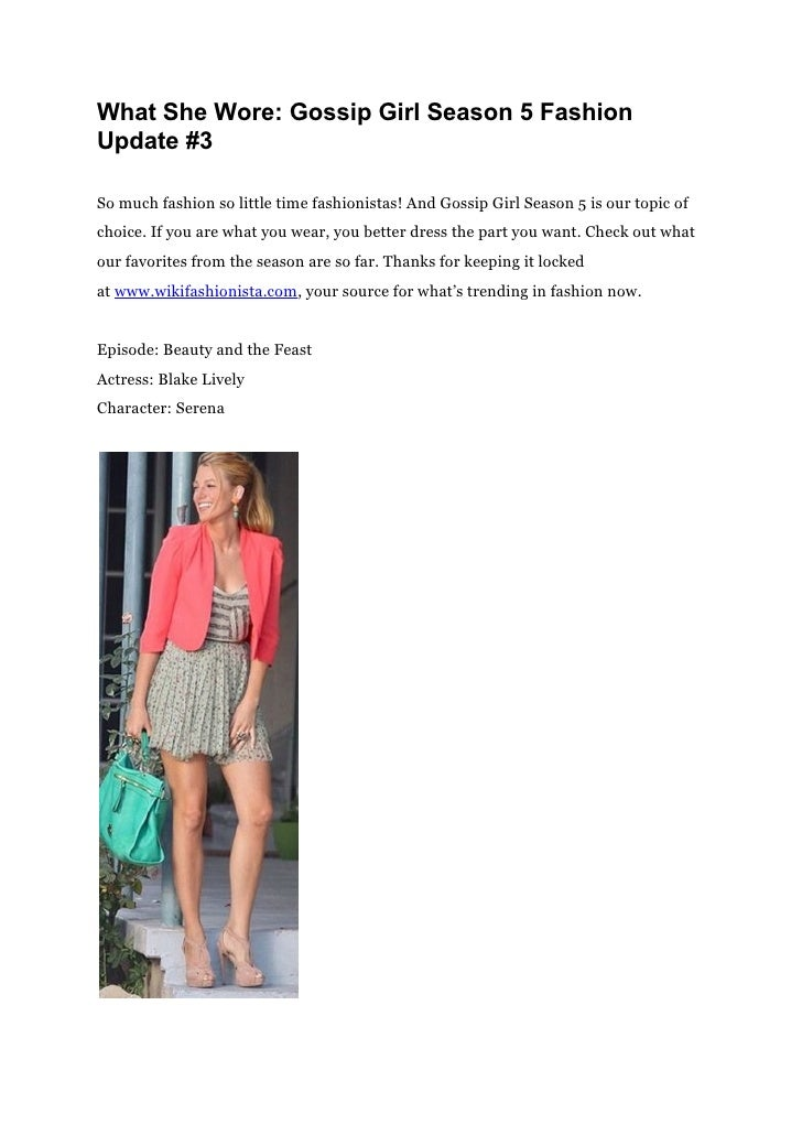 What She Wore: Gossip Girl Season 5 FashionUpdate #3So much fashion so little time fashionistas! And Gossip Girl Season 5 ...
