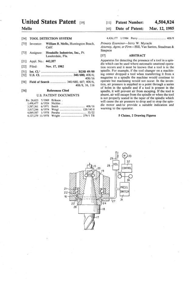 United States Patent [19J Mello [54] TOOL DETECTION SYSTEM [75] Inventor: William R. Mello, Huntington Beach, Calif. [73] ...