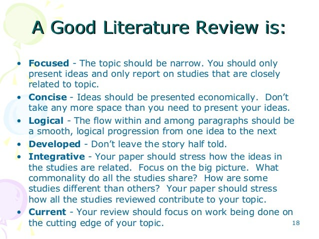 writing and presenting literature review khalid 17 18 a good