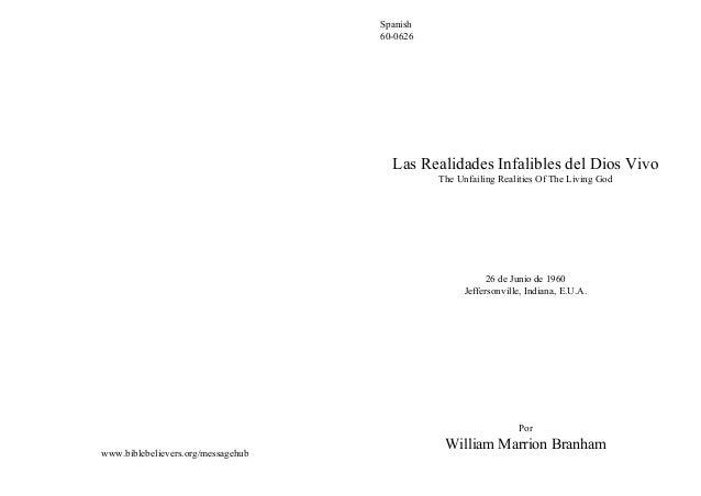 Spanish                                    60-0626                                      Las Realidades Infalibles del Dios...
