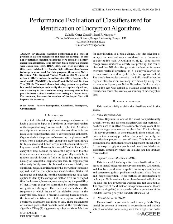 ACEEE Int. J. on Network Security , Vol. 02, No. 04, Oct 2011        Performance Evaluation of Classifiers used for       ...