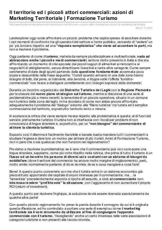 Il territorio ed i piccoli attori commerciali: azioni diMarketing Territoriale   Formazione Turismohttp://www.formaz ionet...