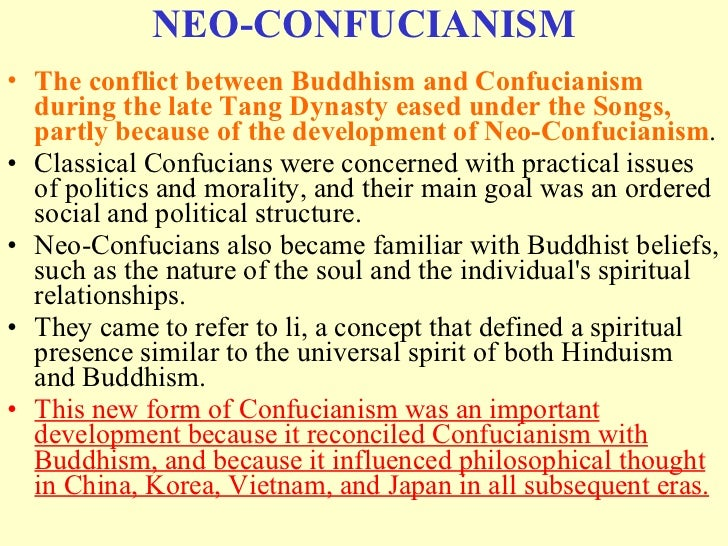 neo confucianism vs confucianism essay example Confucian propriety essay the textbook does not say much about how the confucian or neo-confucian ideas were brought into a real life of the for example.