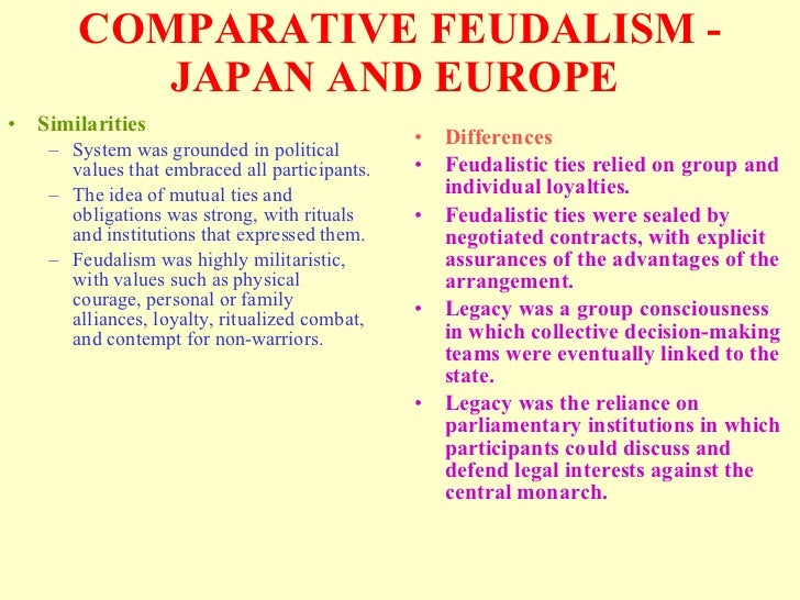 Compare and contrast feudalism in japan and europe essay