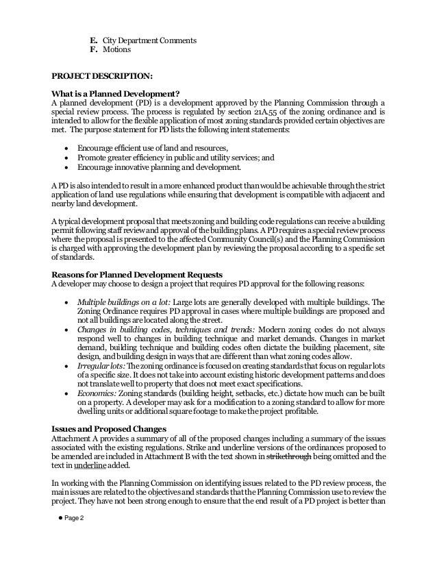 Staff Report On Modifications To Planned Development Ordinance