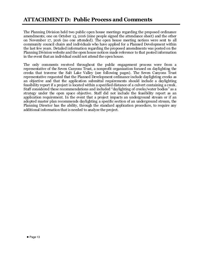  Page 13 ATTACHMENT D: Public Process and Comments The Planning Division held two public open house meetings regarding th...