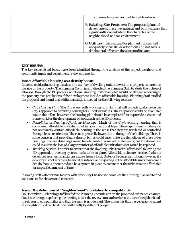  Page 7 surrounding area and public rights-of-way. F. Existing Site Features: The proposed planned development preserves ...