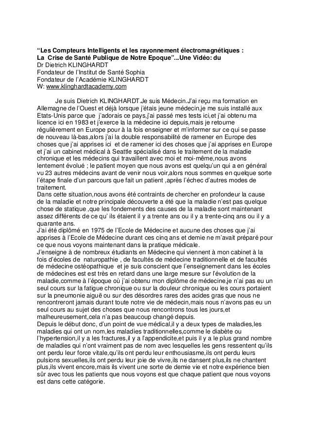 """""""Les Compteurs Intelligents et les rayonnement électromagnétiques : La Crise de Santé Publique de Notre Epoque""""...Une Vidé..."""