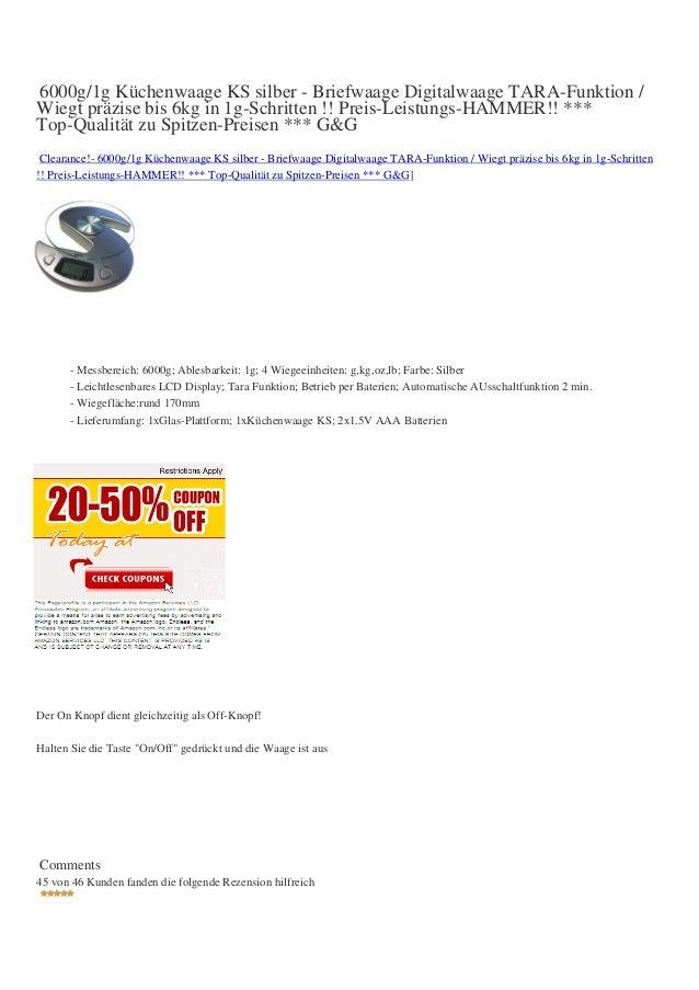 6000g/1g Küchenwaage KS silber - Briefwaage Digitalwaage TARA-Funktion /Wiegt präzise bis 6kg in 1g-Schritten !! Preis-Lei...