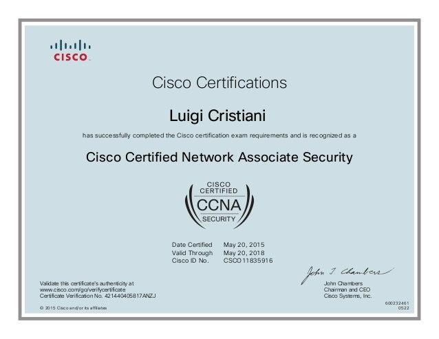 Cisco CCNA Security Certificate