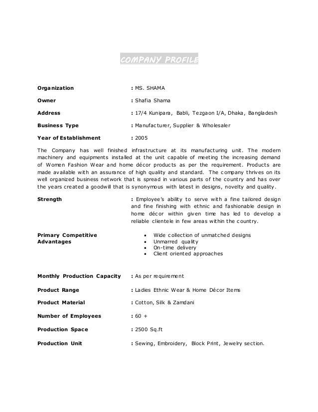 COMPANY PROFILE For Home Decor