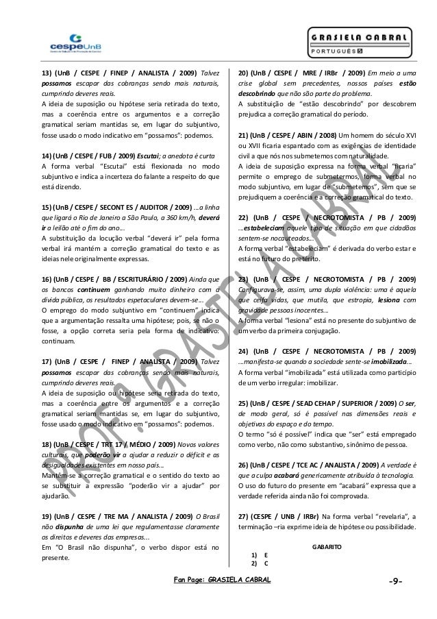 Fan Page: GRASIELA CABRAL -9- 13) (UnB / CESPE / FINEP / ANALISTA / 2009) Talvez possamos escapar das cobranças sendo mais...