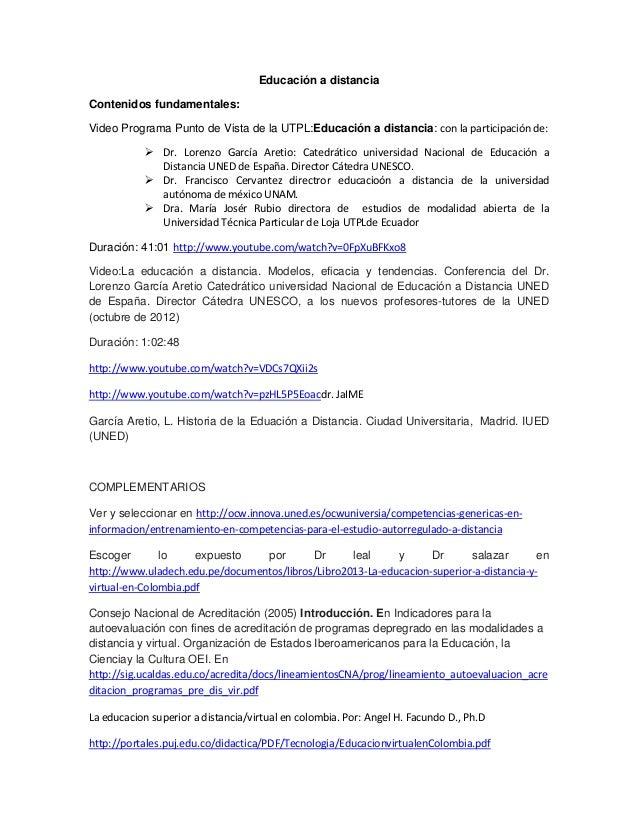 Educación a distancia Contenidos fundamentales: Video Programa Punto de Vista de la UTPL:Educación a distancia: con la par...