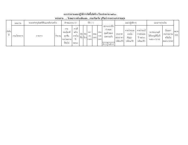 แบบรายงานแผนจัดซื้อจัดจ้างปี60(10%) Slide 2
