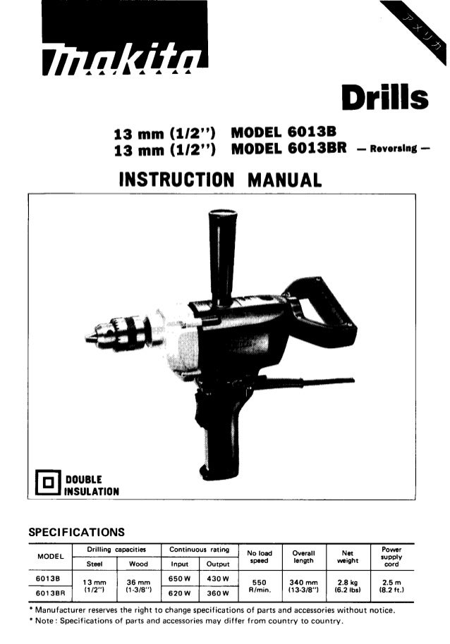 Makita 6013BR Spade Hammer Drill Instruction Manual