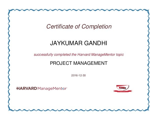 Certificate Of Completion Of Project Management