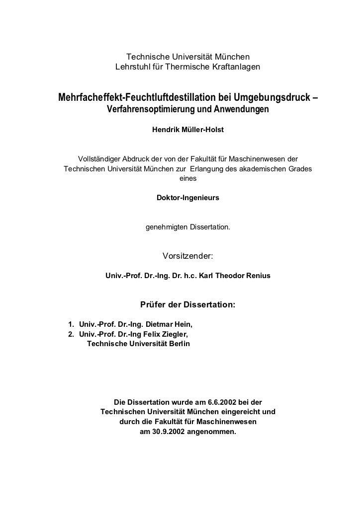 Technische Universität München                Lehrstuhl für Thermische KraftanlagenMehrfacheffekt-Feuchtluftdestillation b...