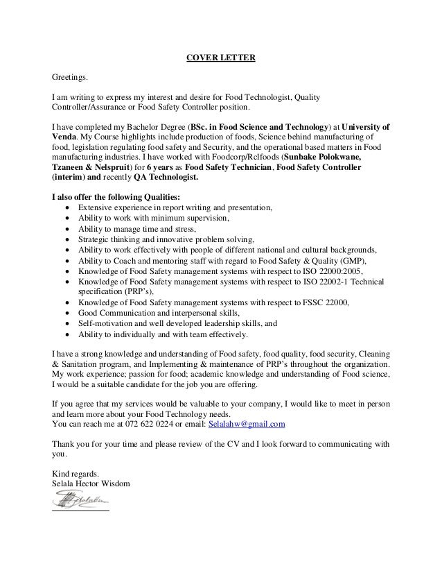cover letter for hector selala