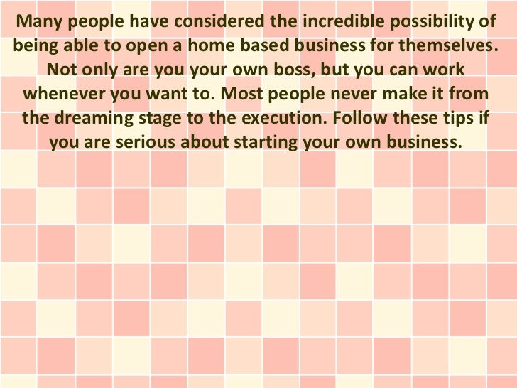 Many people have considered the incredible possibility ofbeing able to open a home based business for themselves.    Not o...