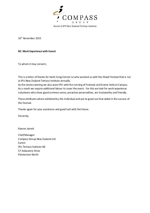 Work ex thank you letter eurest at ipu new zealand tertiary institute 16th november 2015 re work experience with eurest work ex thank you letter prximos slideshares expocarfo