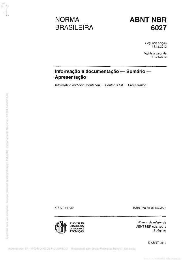 Norma ABNT - 6027 - 2013 - Sumário