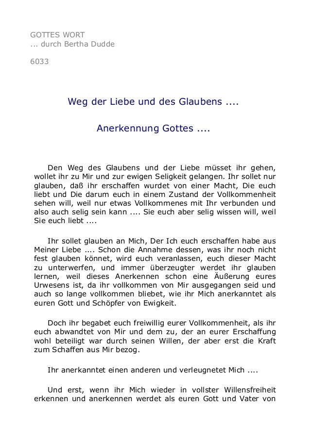 GOTTES WORT  ... durch Bertha Dudde  6033  Weg der Liebe und des Glaubens ....  Anerkennung Gottes ....  Den Weg des Glaub...