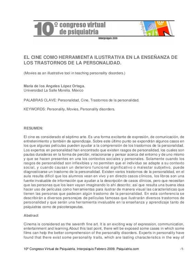EL CINE COMO HERRAMIENTA ILUSTRATIVA EN LA ENSEÑANZA DE LOS TRASTORNOS DE LA PERSONALIDAD. (Movies as an illustrative tool...
