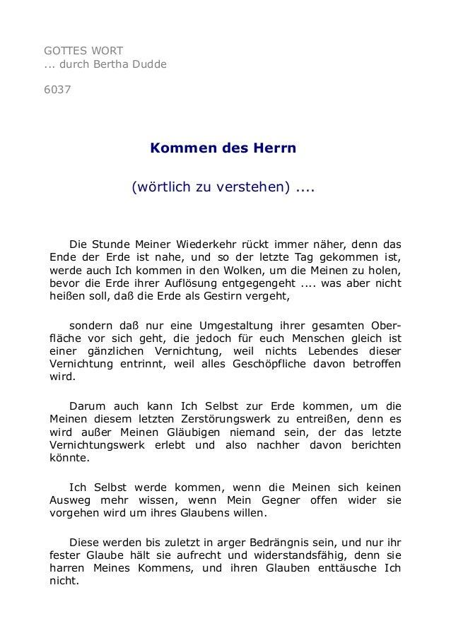 GOTTES WORT  ... durch Bertha Dudde  6037  Kommen des Herrn  (wörtlich zu verstehen) ....  Die Stunde Meiner Wiederkehr rü...