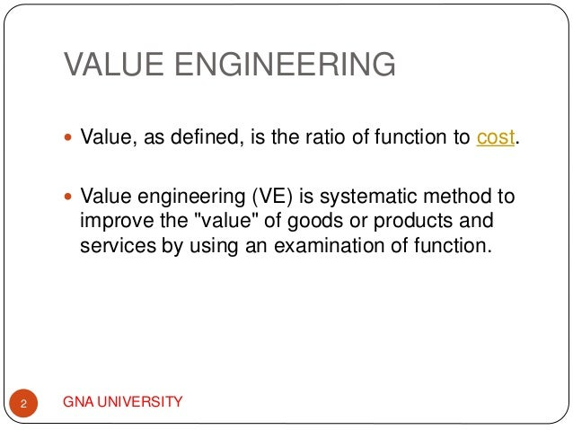 Value Engineering Analysis Ppt