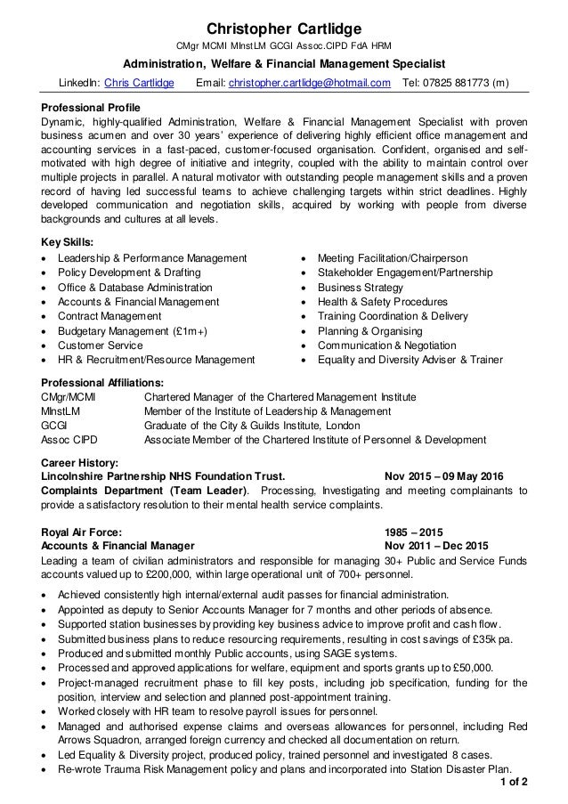 financial management specialist sample resume finance manager