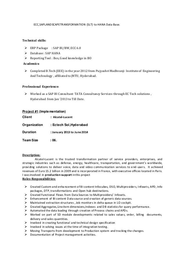 Bw hana resume