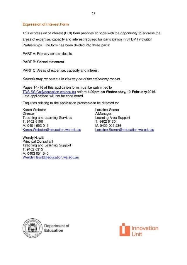 D16 0029546 Expression of Interest Form TDS STEM Innovation Partners – Release of Interest Form