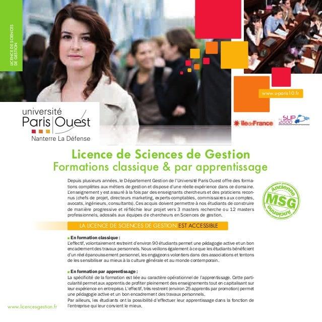 LICENCEDESCIENCES DEGESTION Depuis plusieurs années, le Département Gestion de l'Université Paris Ouest offre des forma- t...