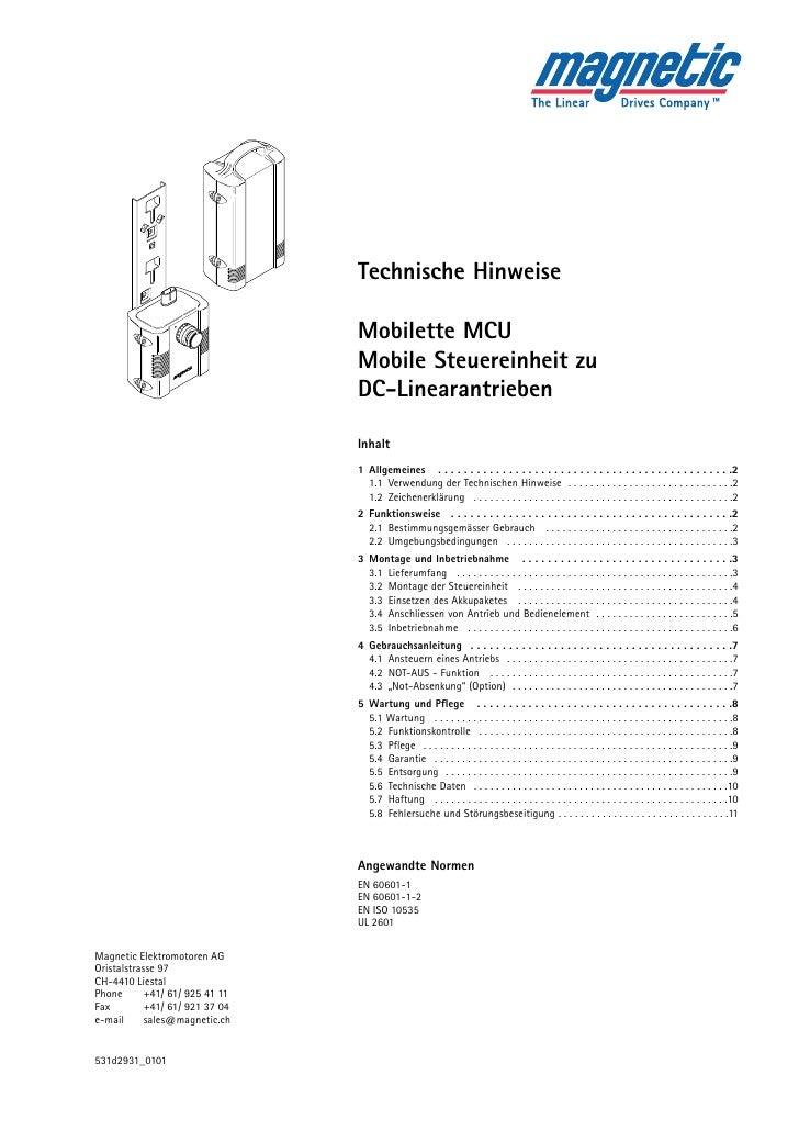 Technische Hinweise  Mobilette MCU Mobile Steuereinheit zu DC-Linearantrieben  Inhalt 1 Allgemeines . . . . . . . . . . . ...