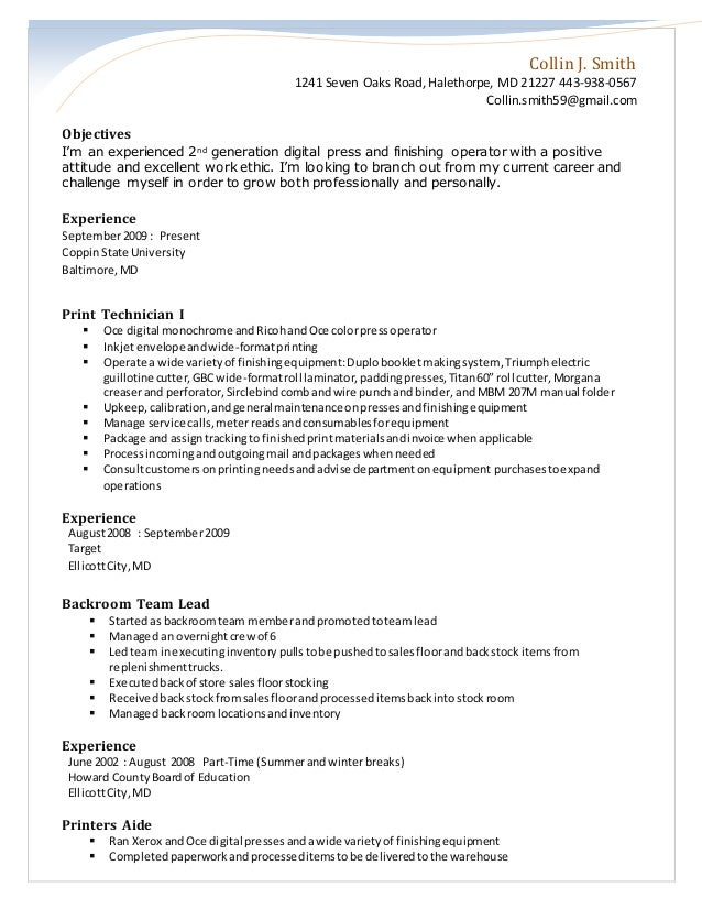 Printing Resume. Collin J. Smith 1241 Seven Oaks Road, Halethorpe, MD 21227  443 938 ...  Resume Print Out