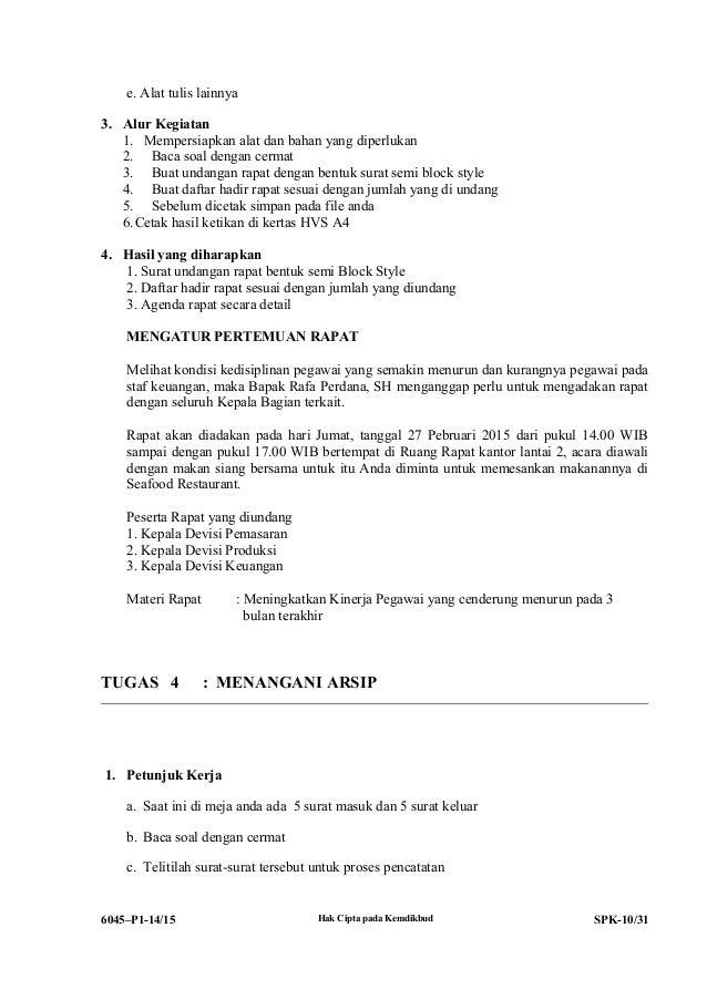 Contoh Surat Undangan Rapat Semi Block Style Contoh Surat