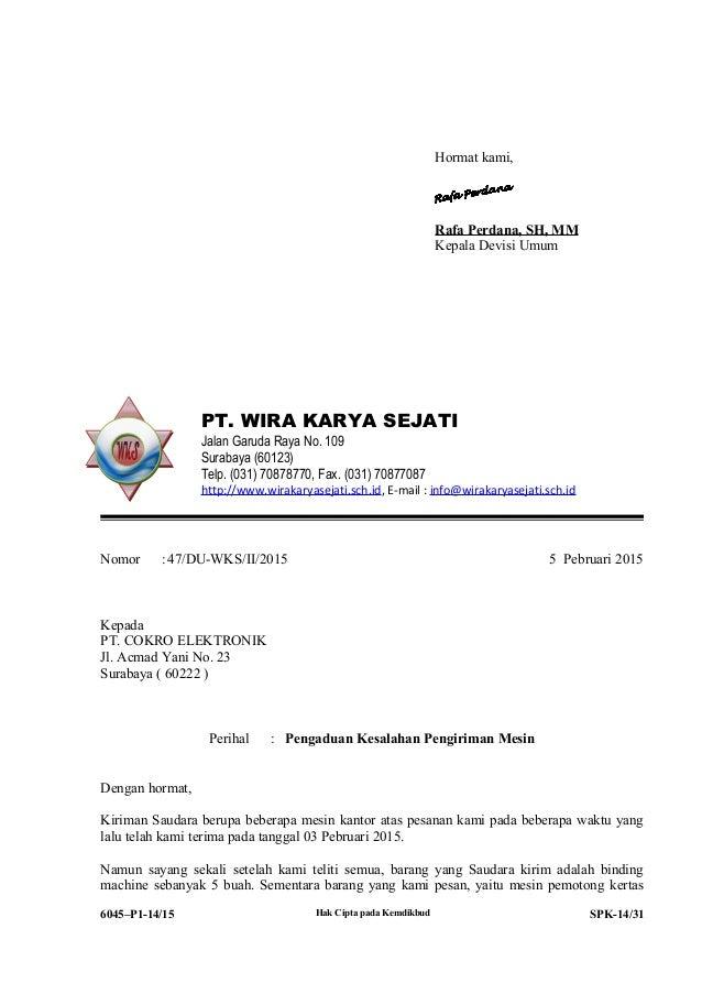 Contoh Surat Balasan Pt Wira Karya Sejati Free Download Images