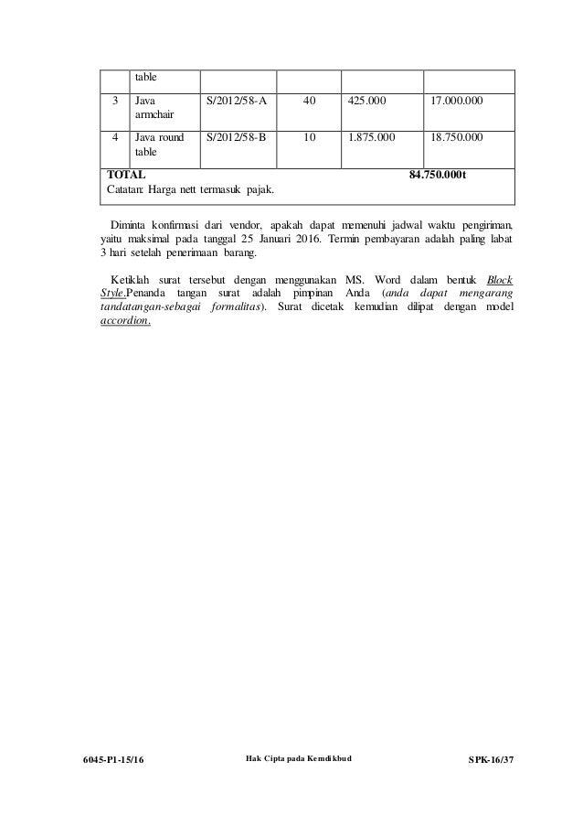 Contoh Surat Pesanan Pembelian Unit Produk Mentah