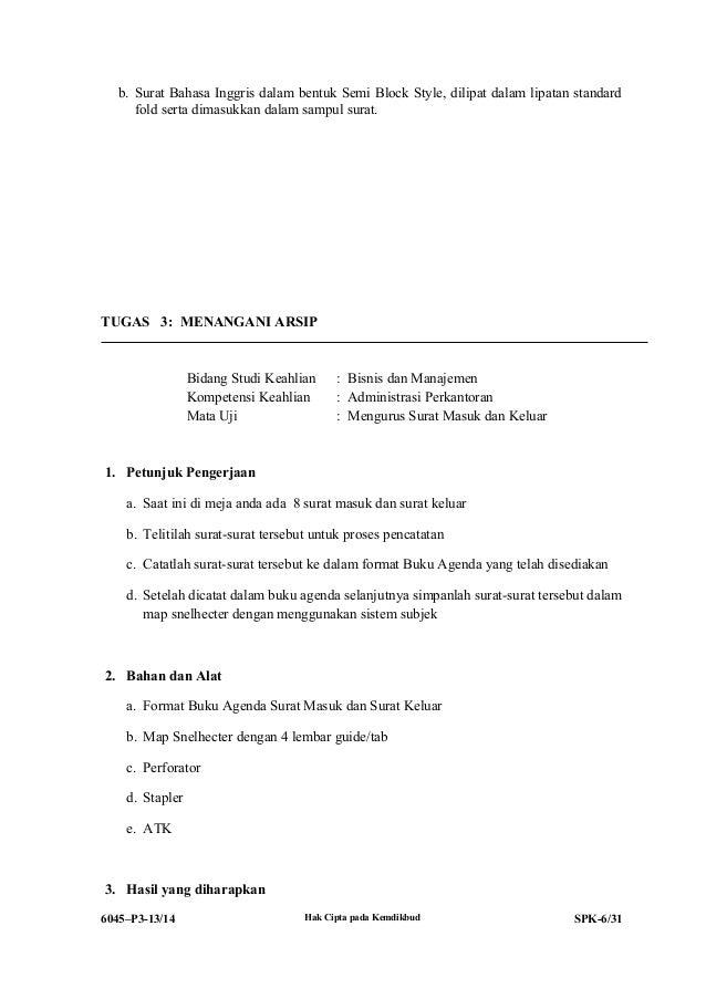 Surat Dinas Bentuk Full Block Style