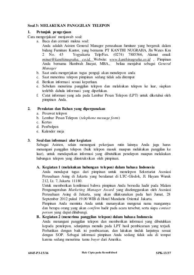 6045 P3 Spk Administrasi Perkantoran Soal Ukk Administrasi Perkanto
