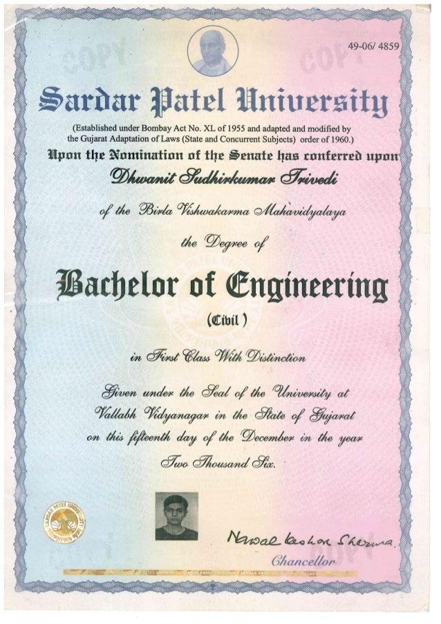 Bachelor of Engineering - Degree Certificate_SPU_Dhwanit