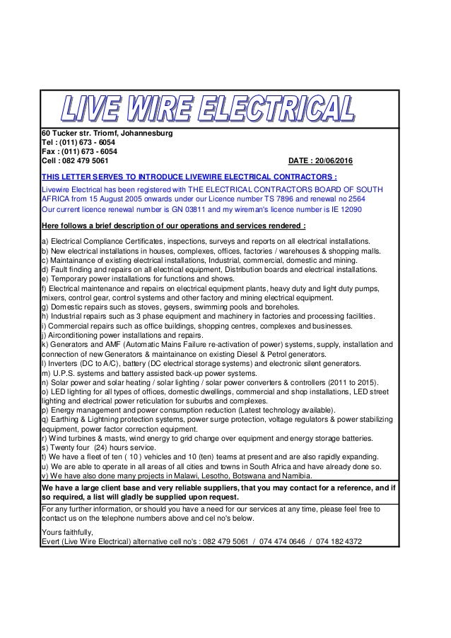 Letter Of Introduction Of Livewire Electrical Contractors