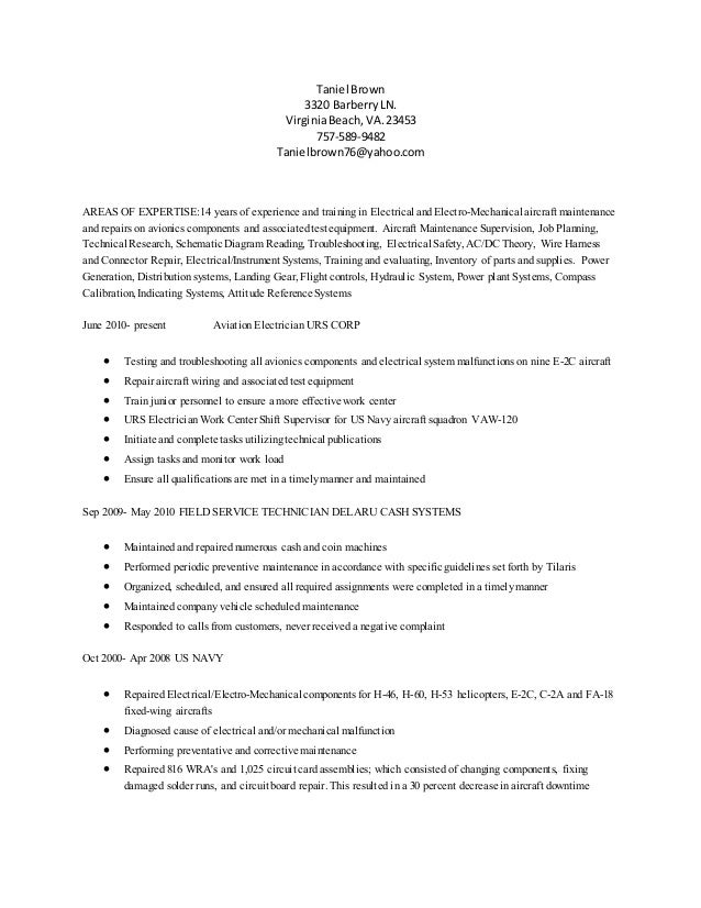 aviation resume t brown