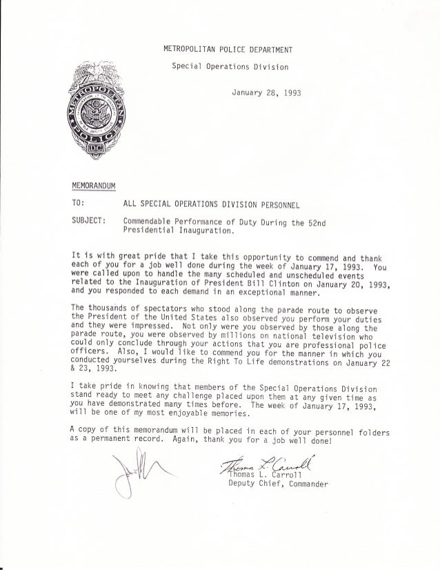 Letter Commendation Police Officer