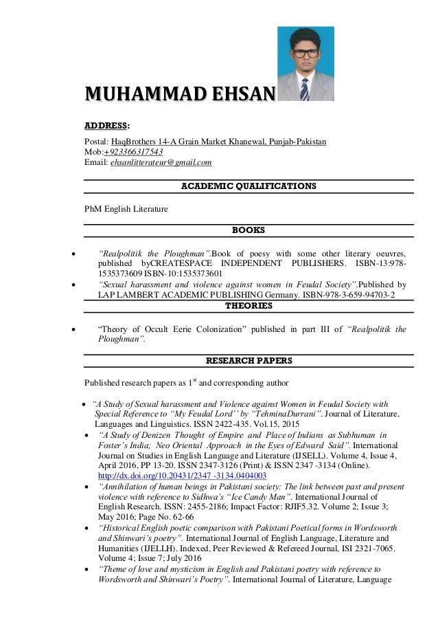 MMUUHHAAMMMMAADD EEHHSSAANN ADDRESS: Postal: HaqBrothers 14-A Grain Market Khanewal, Punjab-Pakistan Mob:+923366317543 Ema...